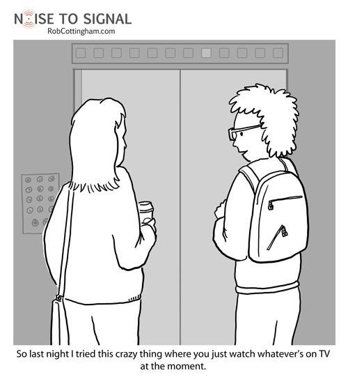 """Cartoon: What is this """"broadcasting"""" of which you speak? Remember when you used to watch #TV live?"""