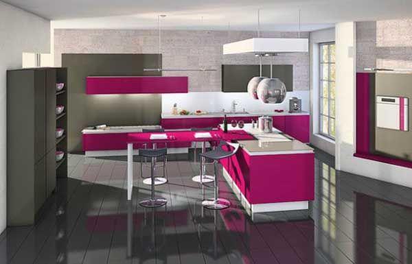 Pembe mutfak dekoru -