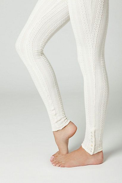 Cableknit Leggings so freaking cute with the mother of pearl buttons at the ankle!