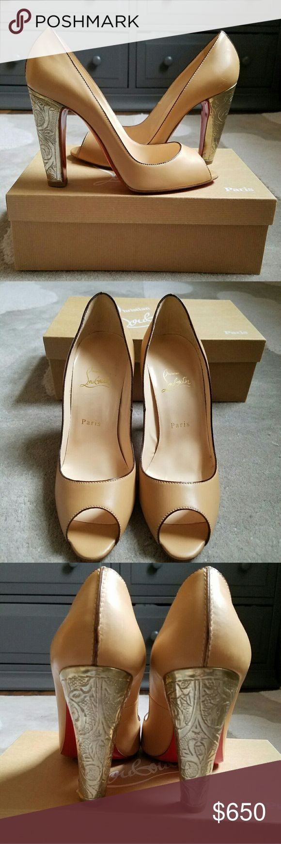 Christian Louboutin volubilis peep toe tan pumps Classy peep toe tan pumps with metallic heel.  Slight damage to metal heel on left shoe, very slight wear on soles - Never been worn, any damage was sustained in store when being tried on by customers. Comes with original box, no dustbag. Christian Louboutin Shoes Heels