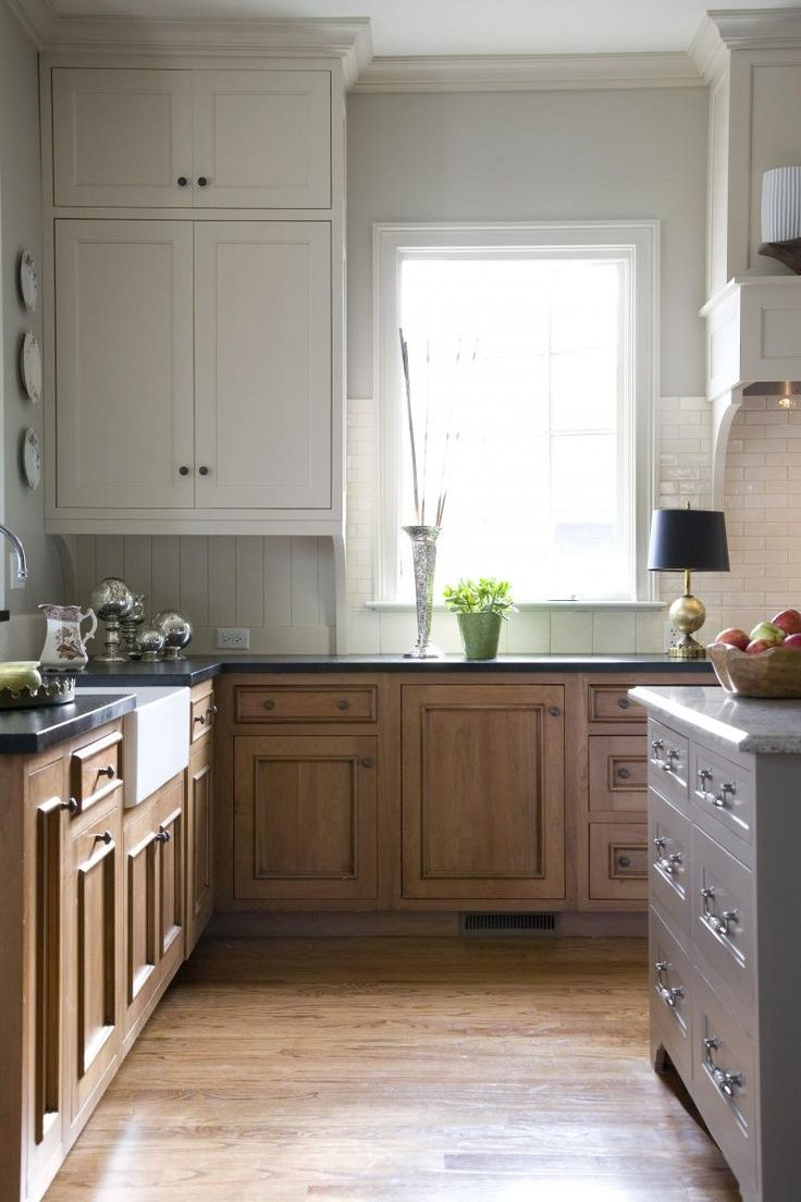 white uppers, darker countertop like honed granite + wood base