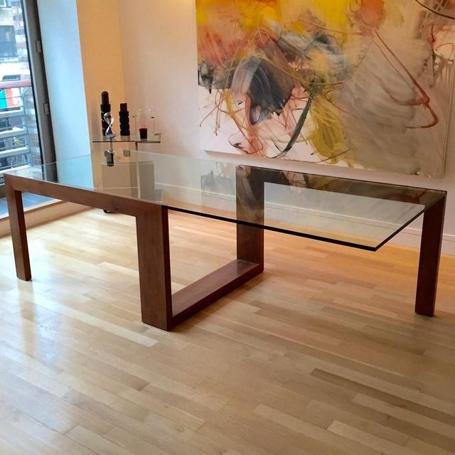 image of contemporary glass top dining table - Designer Wood Dining Tables