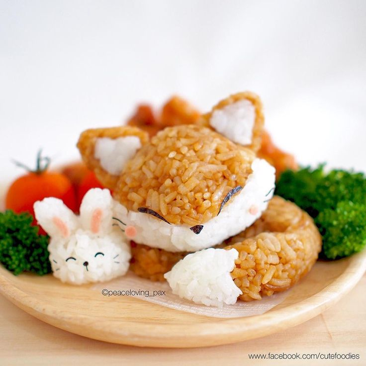 Kawaii Sleeping Fox & Rabbit Rice Balls