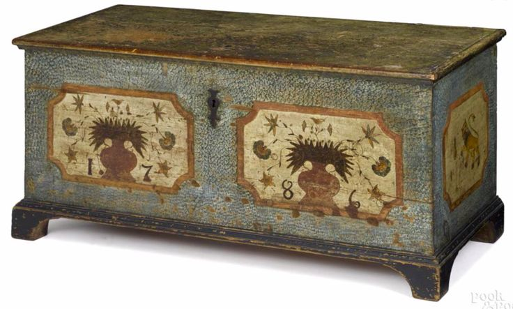 Pook & Pook 10/8/16 Lot: 533.   Estimate: $8K - 12K. Realized: $19,200.  Description: Pa. German painted pine dower chest, dated 1786, with overall blue sponged decoration, 2 ivory panels with pots of flowers, bearing the date 1786, the ends decorated with vibrant rampant lions & tulip buds, all resting on straight bracket feet, 18'' h., 48'' w., 17'' d. Provenance: James & Nancy Glazer.
