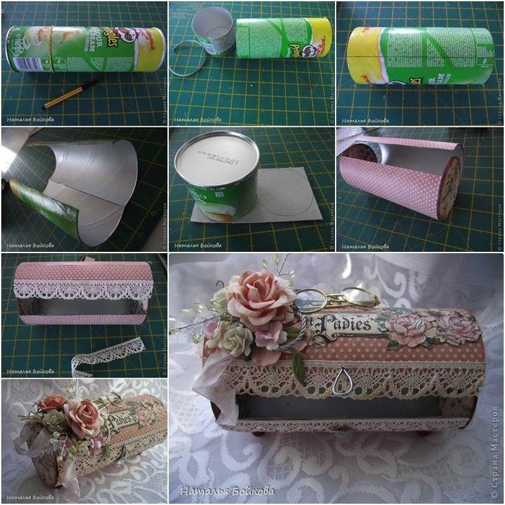 DIY Pretty Vintage Box from Pringles Can #DIY #craft #recycling