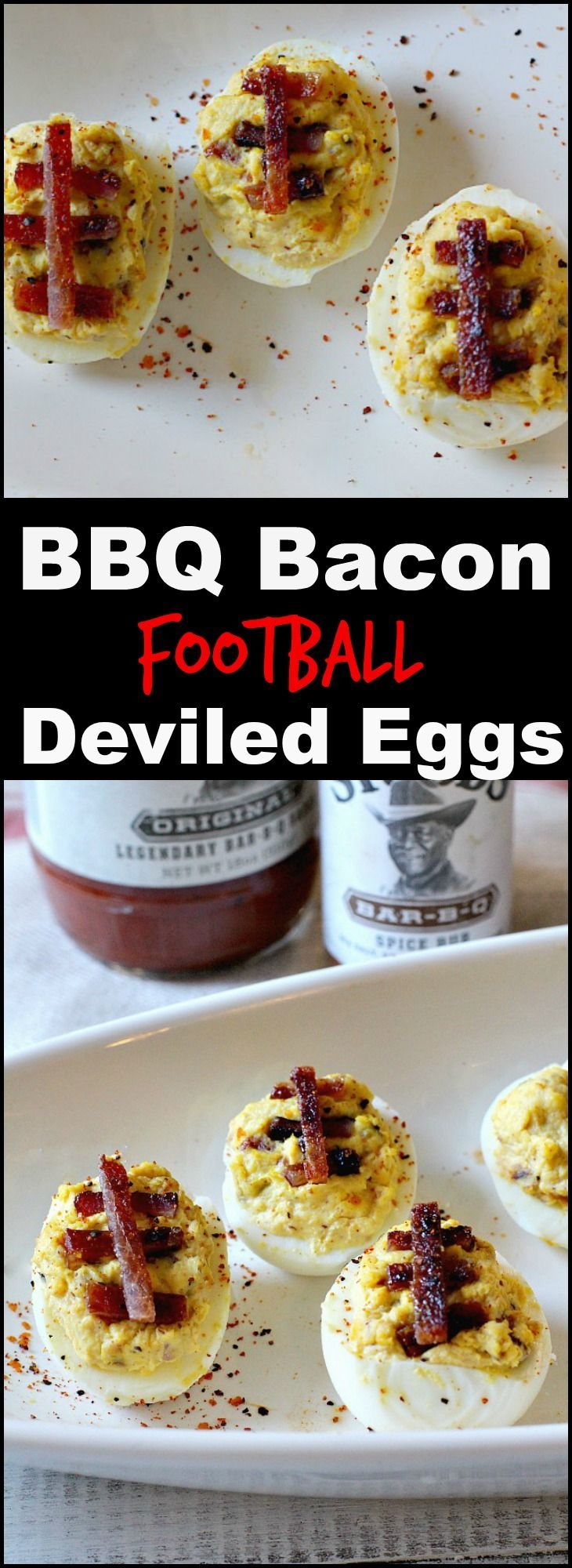 Kick up your next football tailgating appetizer idea with these easy BBQ Bacon Sour Cream Deviled Eggs. The crowd will go wild for these football themed appetizers. @stubbsbbqsauce