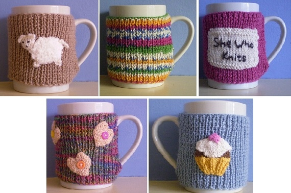 Mug Cosies-This pattern is available as a free Ravelry download. Don't let your tea go cold while you're knitting! These ribbed mug cosies are knitted in 4 ply yarn and will stretch to fit your mug. Patterns are included for motifs to decorate the cosies.