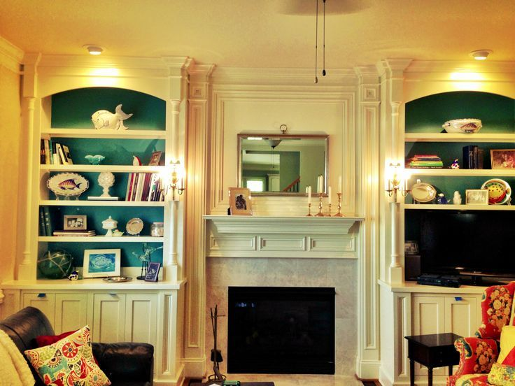Brilliant Gorgeous Builtin Bookshelves Surrounding Fireplace With Sconce