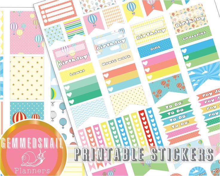 Erin Condren vertical planner stickers. Hot air balloon planner stickers, printable stickers, full box, half box, flags, Date night!