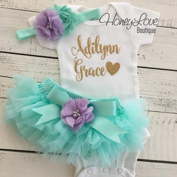 PERSONALIZED SET gold glitter bodysuit, mint/aqua tutu skirt bloomers lavender purple flower, newborn baby girl take home hospital outfit coming home outfit, birthday mermaid party by HoneyLove Boutique