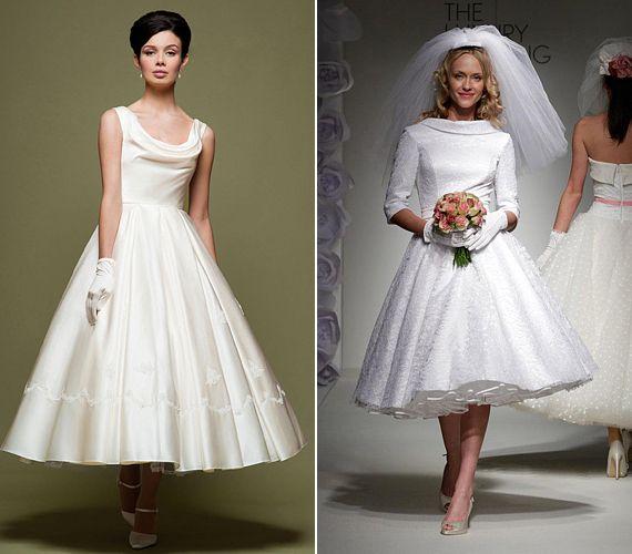 Az ötvenes évekre jellemző, klasszikus nyakszabás újra megjelenik a vintage hangulatú esküvői ruhákon.