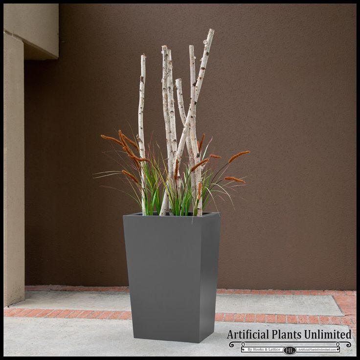 Birch Sticks With Faux Foxtail Grass In Modern Fiberglass