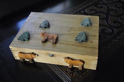 Handmade wooden storage box with bears