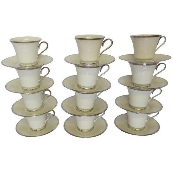 Lenox Solitaire Platinum Band Cups & Saucers - Set of 12 (295 AUD) ❤ liked on Polyvore featuring home, kitchen & dining, drinkware, coffee & tea service, tea saucer, tea cup saucer, lenox cup and saucer, lenox and tea cups and saucers