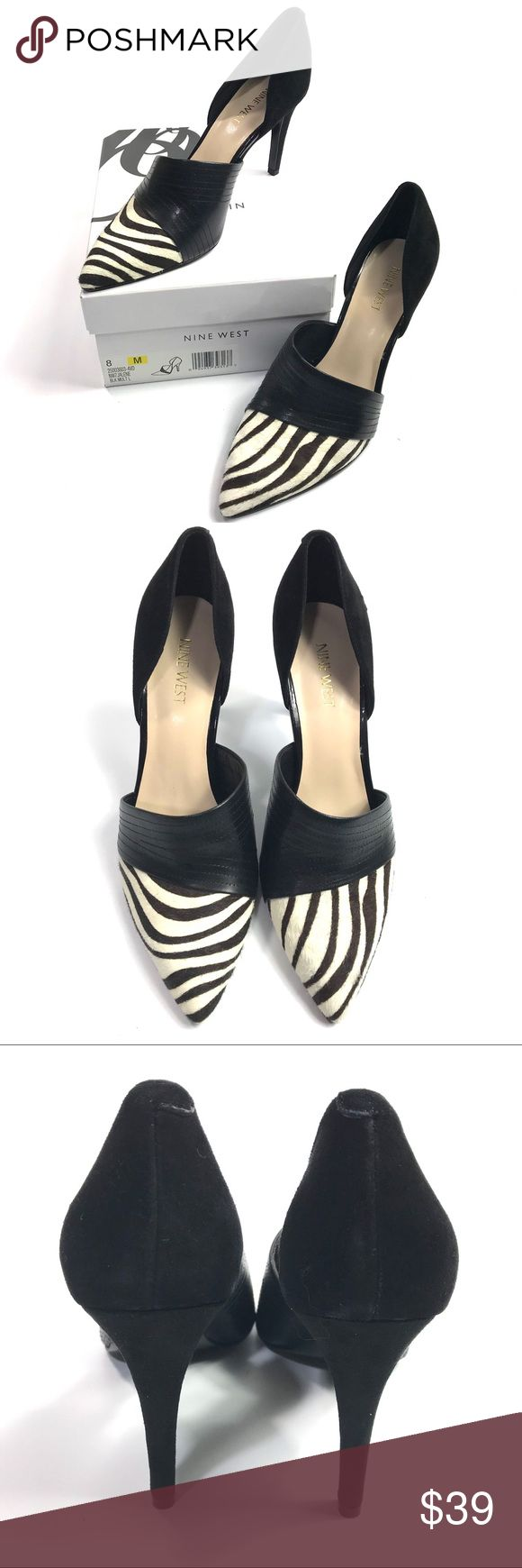 """NINE WEST D'orsay Pumps In  Zebra Nine West 'Jalene' d'Orsay pumps Size 8 Heels 3 1/2"""" Faux fur and leather Black and white(Zelda print in faux fur) New never worn, just tried on at store Comes in original box  Thank you for looking and please check out the rest of my closet. Nine West Shoes Heels"""