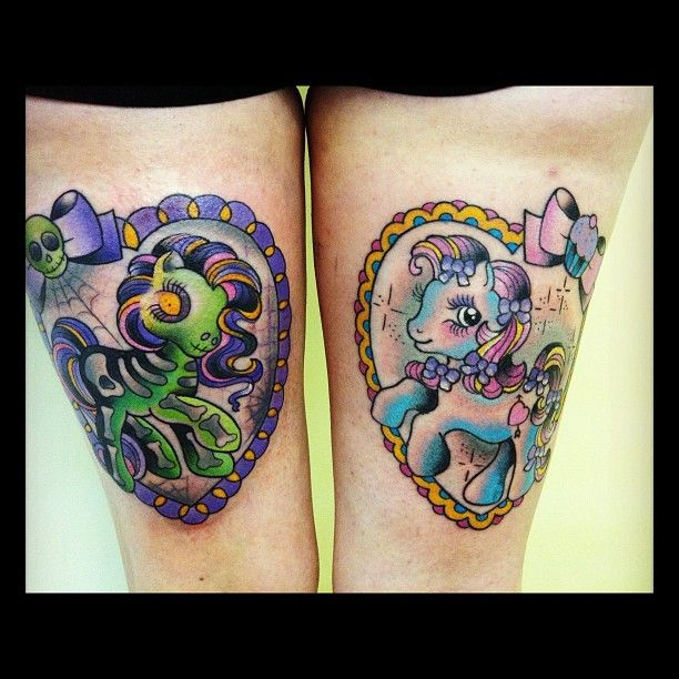 Good and evil My Little Pony tattoos by trailertrashtattoo