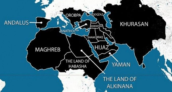 """#ISIS, the #IslamicState of #Iraq and #Syria now trying to stretch """"Islamic State."""" They have #released a new map that #figure the territory they are trying to #conquer within the next five years. That #territory compass from #Morocco and #Spain out to #SriLanka and the #border of #China. http://bit.ly/1pKJUKf"""
