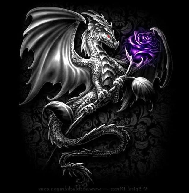 Dragon with purple flower.
