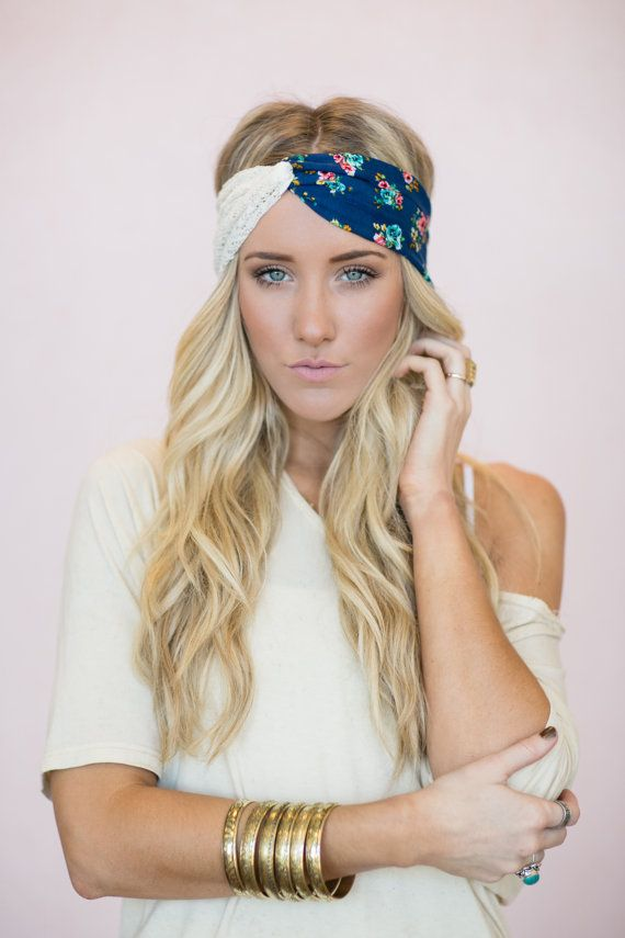 Boho Headbands, Turband Head Wraps, Cute Hair Bands, Lace & Cobalt Blue Vintage Floral Pattern Twist (HB-135) on Etsy, $38.00