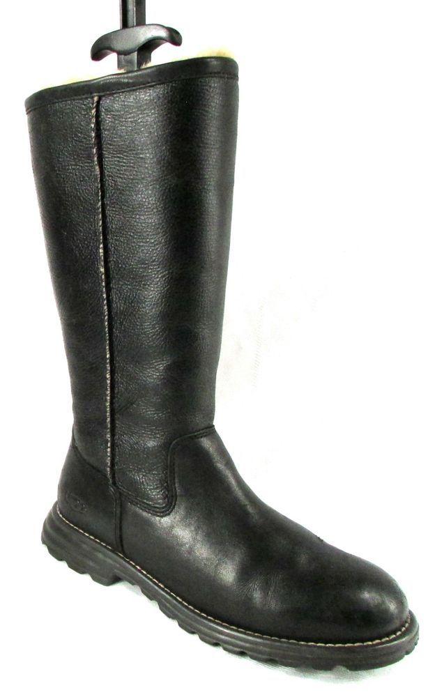 cffad4d61d9 UGG AUSTRALIA BROOKS 5490 Tall Black Leather Shearling Boots Womens ...