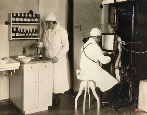 3/3 1934. Kuopion tuberkuloosihuoltotoimisto. Potilaan keuhkot läpivalaistavina ja laboratoriotyötä.