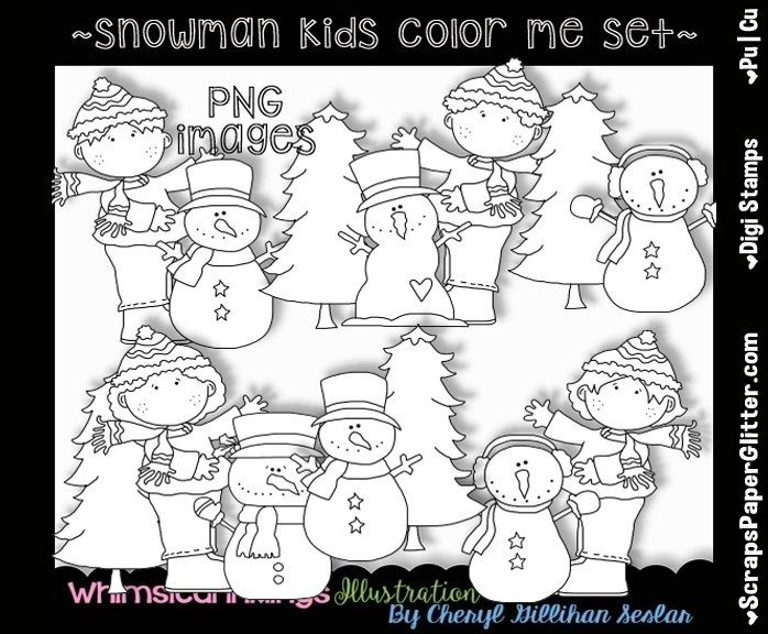 Snowman Kids Digital Stamps, Black and White Image, Graphic, Commercial Use, Instant Download, Line Art, Snowmen, Christmas, Winter, Snow by ResellerClipArt on Etsy