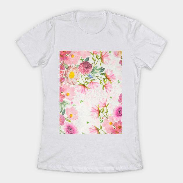 Pink Floral Watercolor Art Watercolor Floral Art T Shirt