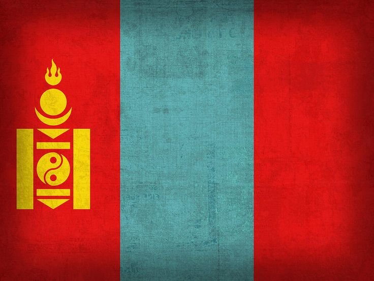 Mongolia Flag Vintage Distressed Finish Mixed Media