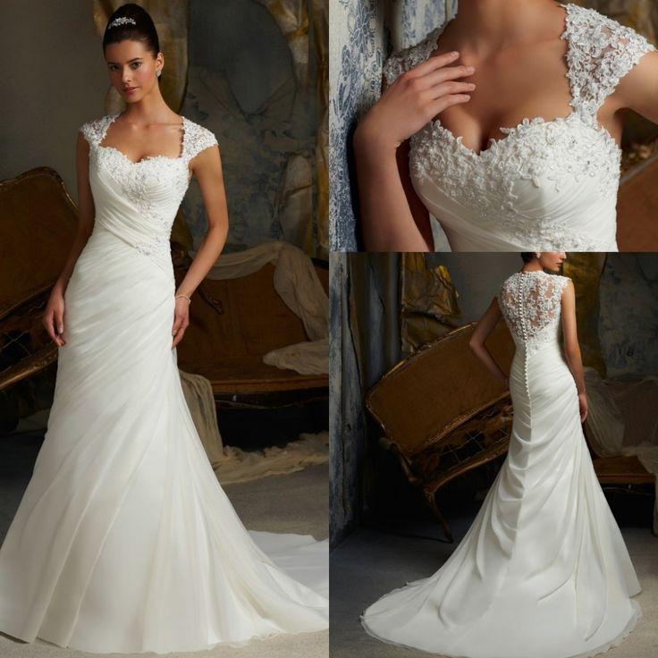 Free Shipping Elegant A-line Cap Sleeve Draped Closed Back Wedding Dress US $158.00