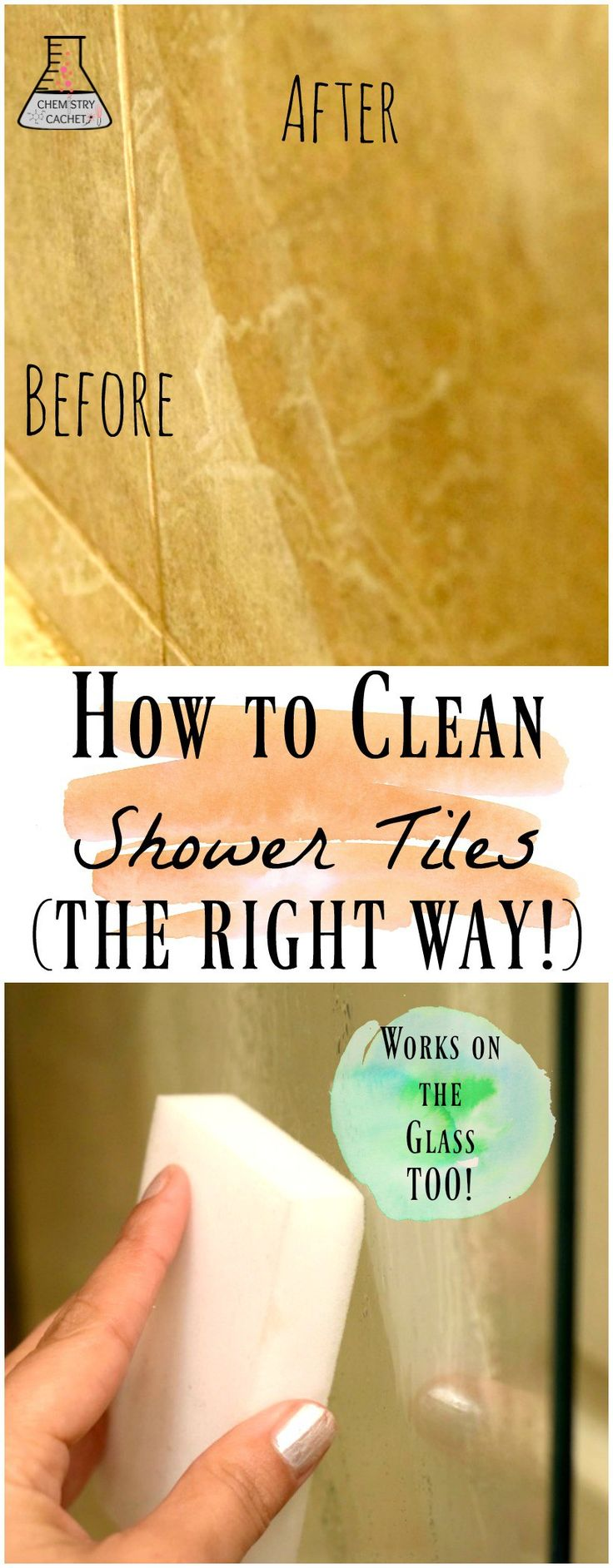 How to Clean Shower Tiles the RIGHT and cheap way! Bonus It works on glass soap scum too. Get this super easy chemist tip for your shower on chemistrycachet.com