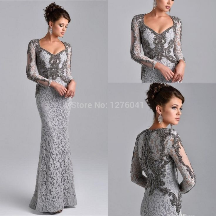 Long Sleeves Mother of the Bride Dress Grey Long Lace Groom Mother Dress Beaded Elegant 2015 Custom Made