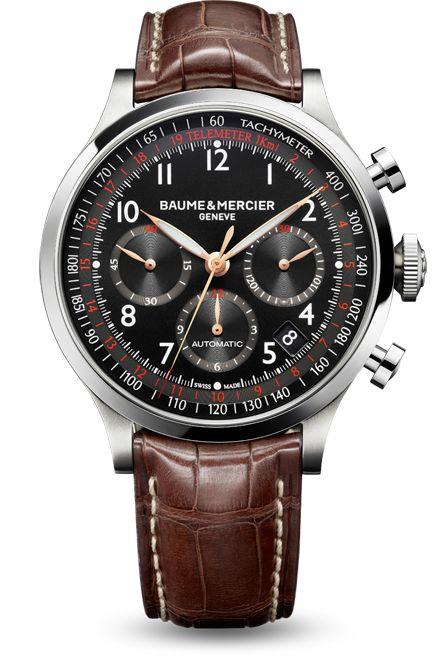 Reloj cronógrafo automático para hombre Capeland 10067, diseñado por Baume et Mercier, fabricante de relojes suizos.