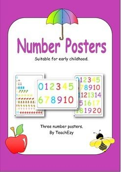 Number Posters A3 size, Easy download and print posters perfect for any learning centre.