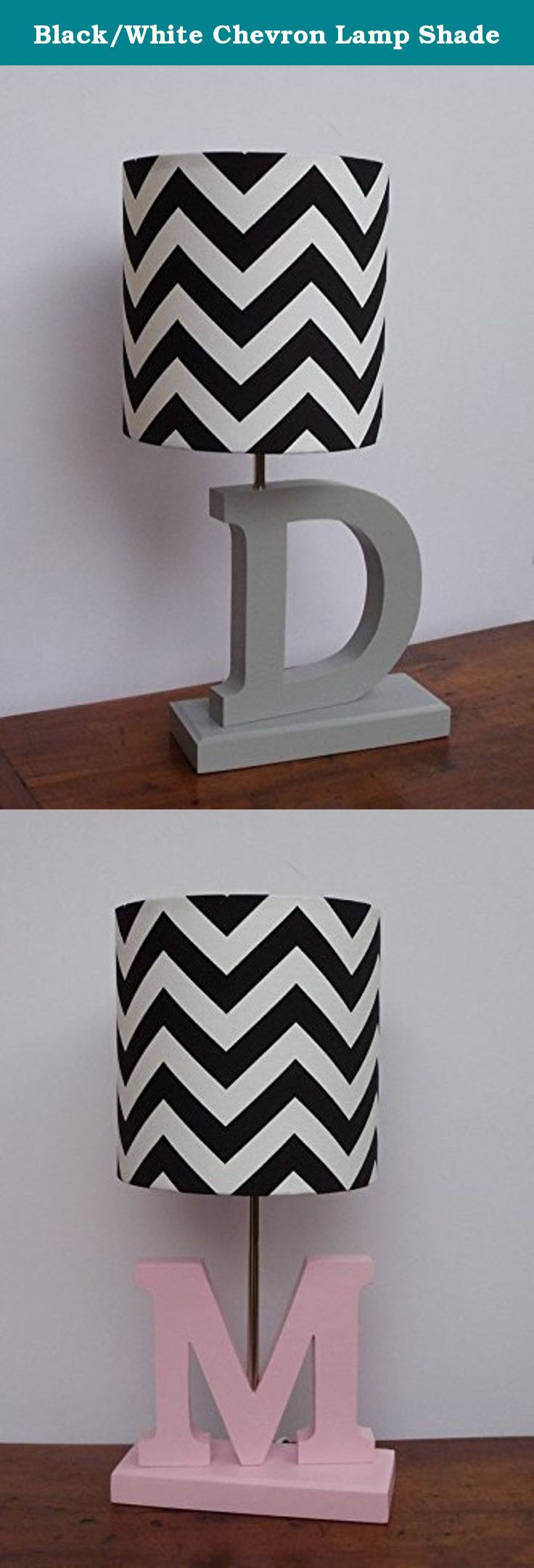 Black/White Chevron Lamp Shade. This listing is for a handmade black/white chevron drum lamp shade. Made from high quality Premier Prints cotton fabric. Great for nursery or child's bedroom. **THIS LISTING IS FOR THE LAMP SHADE ONLY.** However, we also sell the lamp base pictured above, separately. Please visit our Amazon store to view our lamp base listings. Lamp Shade clips onto any standard incandescent light bulb.