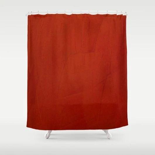 Marsala Crimson Stucco Shower Curtain By Corbin Henry