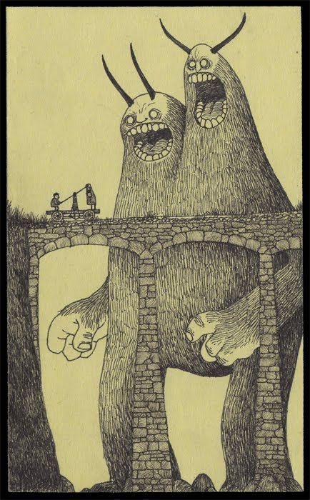 wonderful monster drawings on post-it notes!!!! #illustration