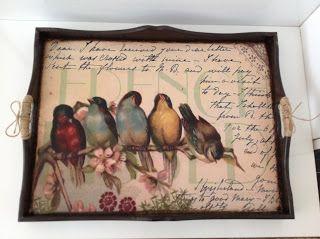 Kuşlu vintage tepsi ~ Atölye Sem
