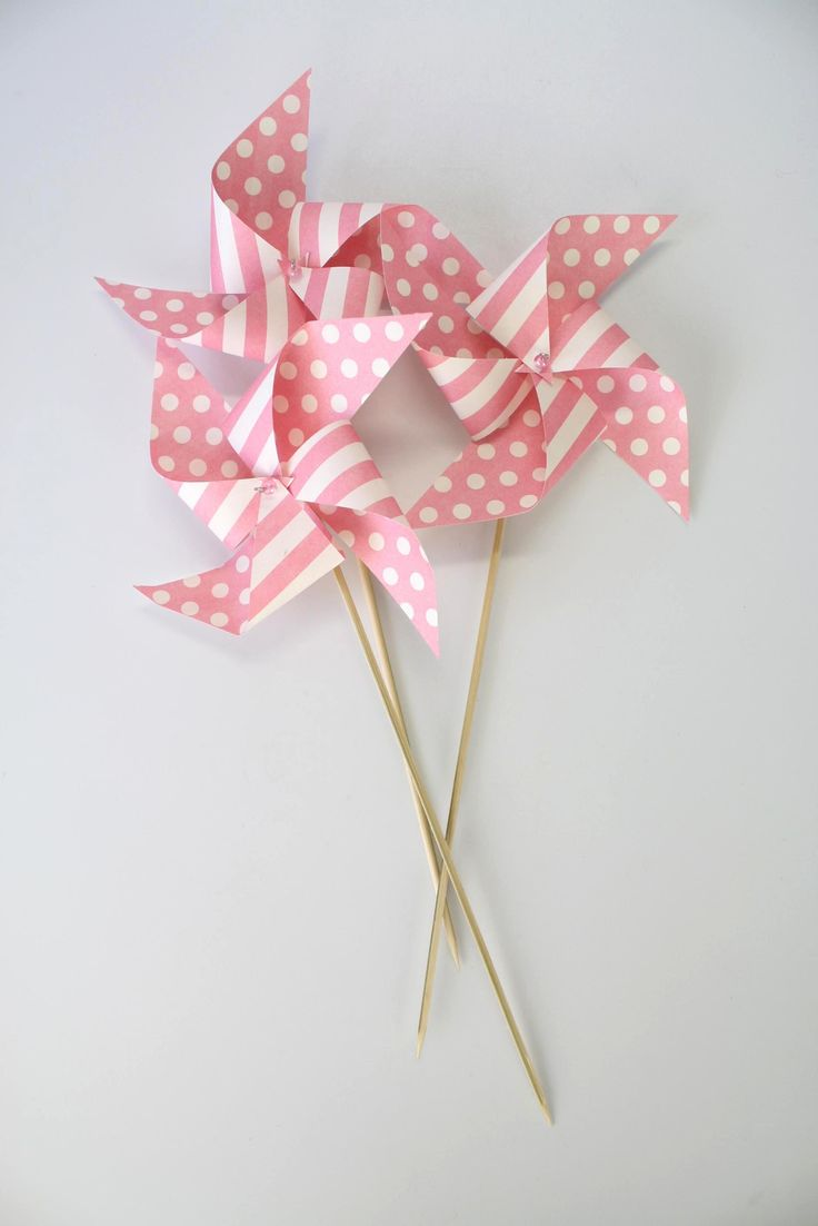 Pink Stripe and Polka Dot Windmills