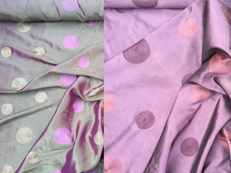 Circles spotty silk Taffeta fabric dress curtains blinds cushions per metre