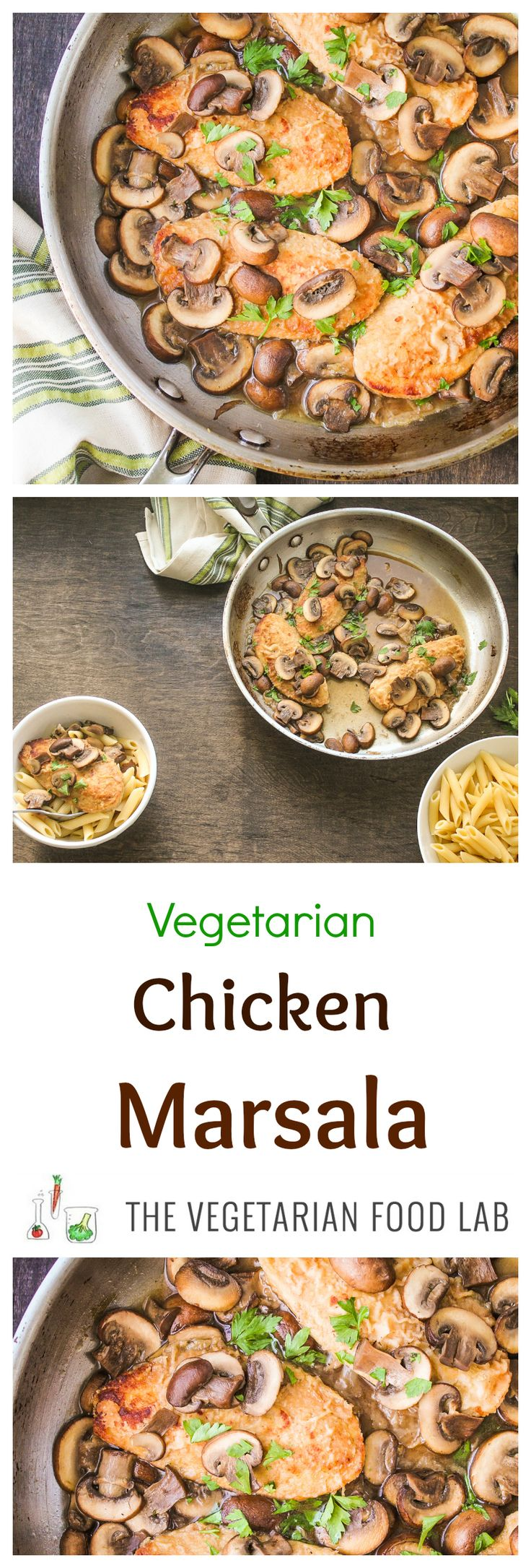Vegetarian Chicken Marsala. Yummy, saucy and savory, just like the Italian favorite, without the meat.
