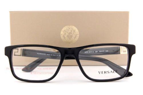 c7c39c0d2de Brand New VERSACE Eyeglasses Frames 3211 GB1 BLACK for Men 100% Authentic  SZ 55