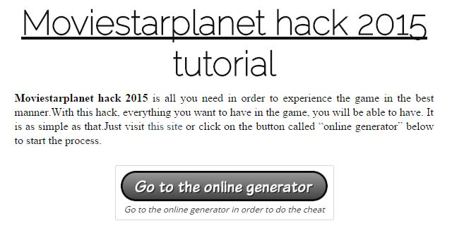 moviestarplanet hack 2015 | online generator