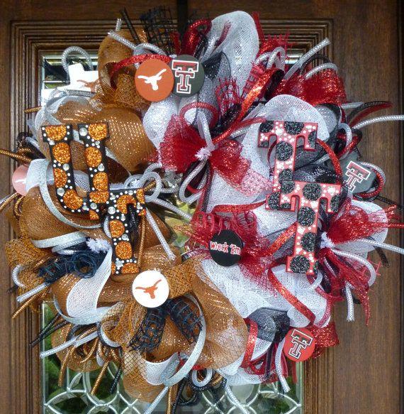 Deco Mesh UT/TEXAS TECH House Divided Wreath by decoglitz on Etsy, $125.00
