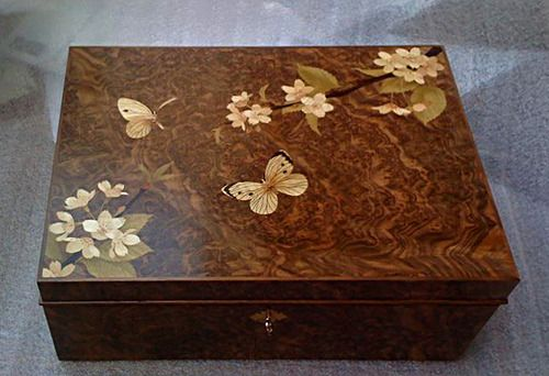 """Cherry blossoms and butterflies marquetry for a box. Made with """"Shaw Riley"""" bespoke cabinet makers in UK. http://www.shaw-riley.co.uk/craftsmencabinetmakers/cabinetmakers.aspx"""