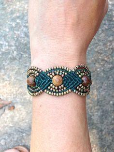 Micro Macrame Bracelet, Green and Khaki Iris via Etsy