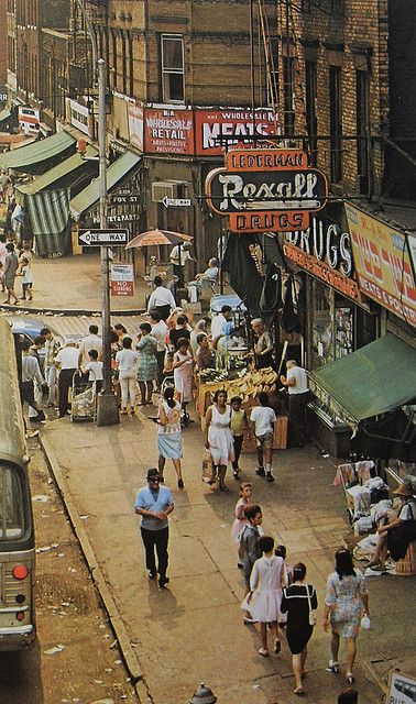 """Corner of East 156th Street and Fox Street, Longwood, The Bronx. This photo appears in the book """"New York"""" by Thomas Page, 1976. Photo is by Klaus Lehnartz."""