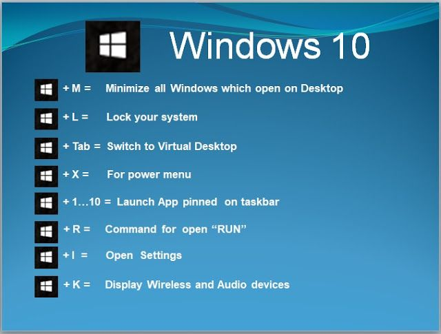 Keyboard shortcuts keys for Windows 10 computer   Windows 10