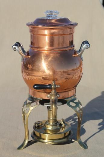 antique copper coffee urn, samovar coffee percolator w/ spirit lamp burner, early 1900s vintage