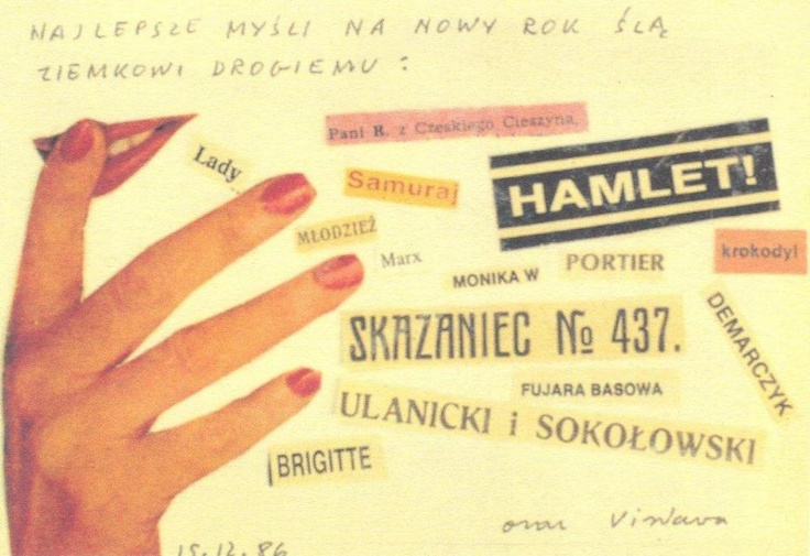 Collage Postcard by Wislawa Szymborska (Samurai-Hamlet-Brigitte, 1986)