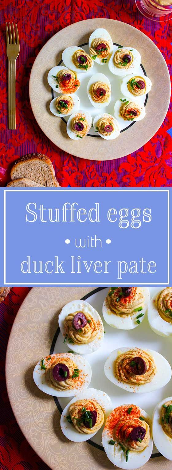 Stuffed eggs with duck liver pate, a great appetizer!